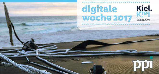 Logo der Digitalen Kieler Woche und ein Schiffsdeck mit Blick auf's Meer.