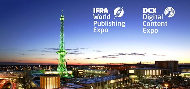 The logos of the DCX and IFRA trade fair and the skyline of Berlin in the evening.