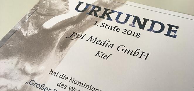 """Urkunde über die Nominierung zum """"Großen Preis des Mittelstandes""""."""