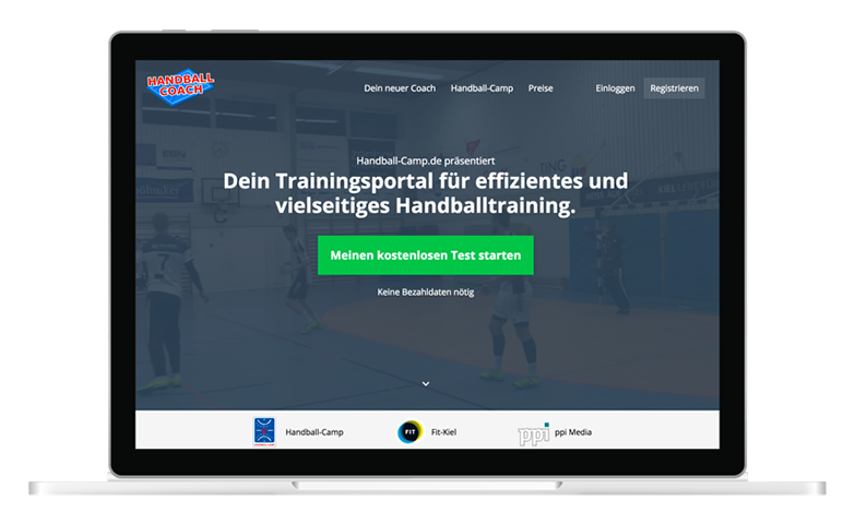 Screenshot Handball-Coach Landingpage